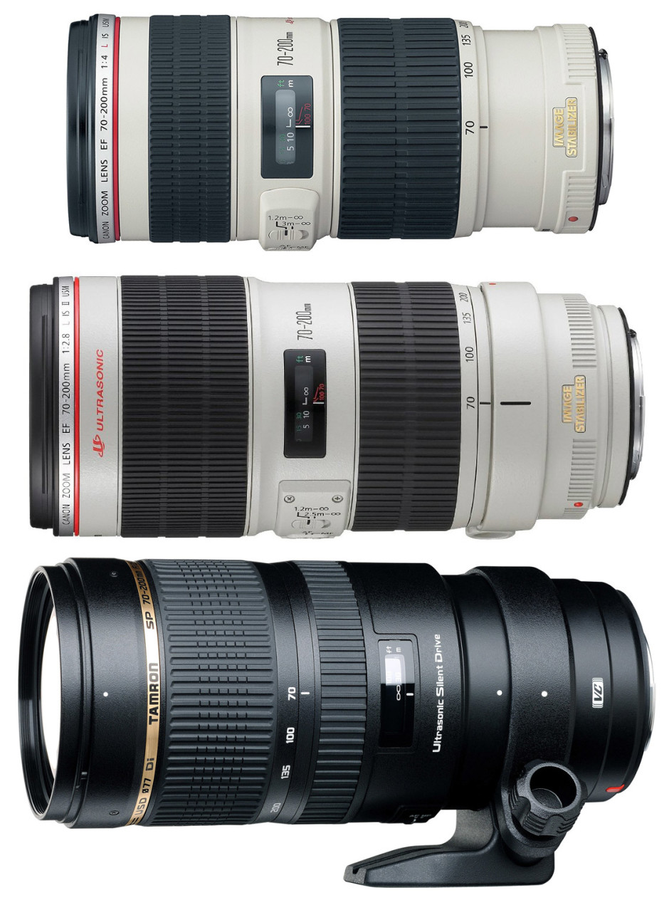 From top to bottom: Canon 70-200 mm f/4, Canon 70-200 f/2.8 and Tamron 70-200 f/2.8