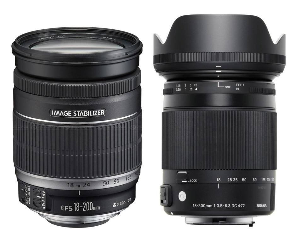 Canon EF-S 18-200 mm f/3.5-5.6 IS and Sigma 18-300 mm f/3.5-6.3 DC OS HSM Macro