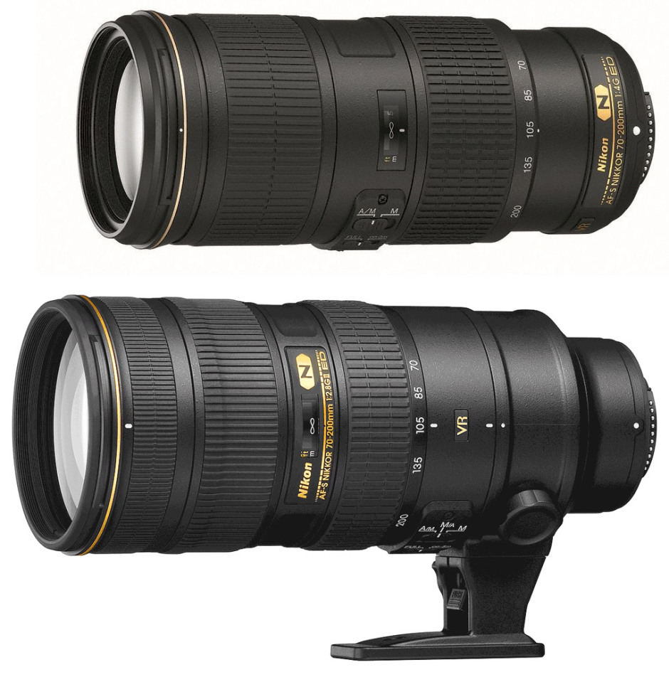 The two 70-200 mm of Nikon. At the top, the f/4 and down the f/2.8
