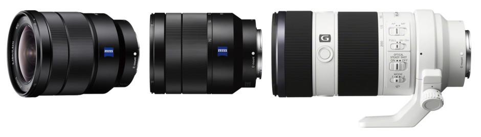 From left to right: Sony 16-35 mm f/4, Sony 24-70 mm f/4 and Sony 70-200 mm f/4